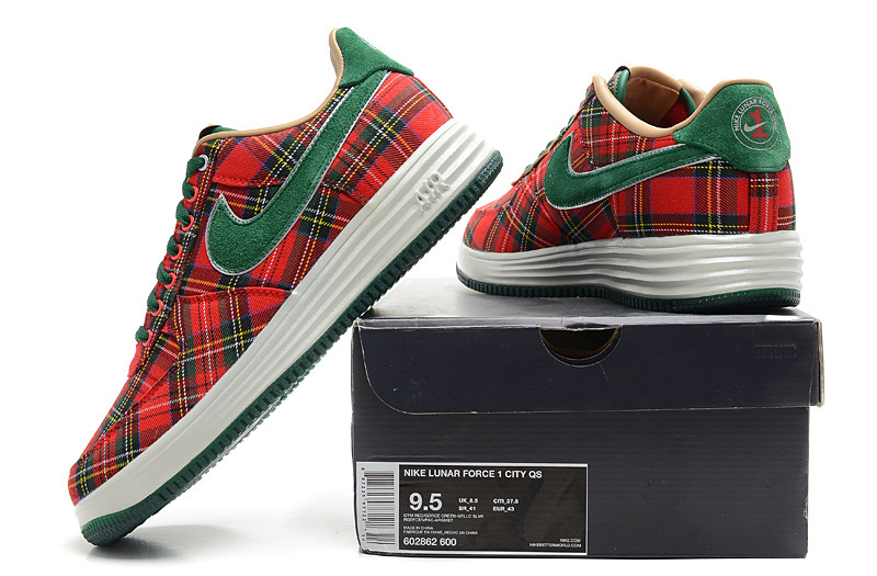 Nike Air Force 1 Low Red Green Grid Sneaker